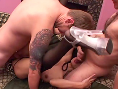 Asian babe sucks cock and gets her pussy fucked in gang bang