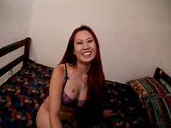 Asian cowgirl in nylon stockings having her shaved pussy throbbed hardcore