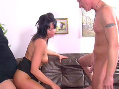 Mature German wife opens her legs to be fucked by two dudes