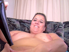 Amateur solo video of a BBW mature having some fun with a dildo