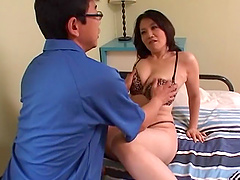 Smooth lovemaking on the bed witha mature Japanese housewife