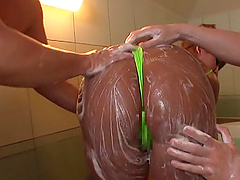 Curvy chick Futaba Yukina covered in soap during a kinky fuck