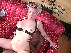 Candy Monroe rides a massive black dick while her hubby watches