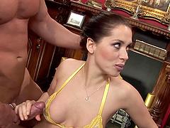 Deep pussy fucking of Anaya Leon while her husband wathces