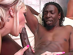 Interracial threesome with two large dicks and blonde Candy Monroe