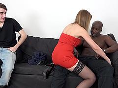 Cuckold boyfriend watches Luca Bella riding a large black dick