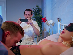 Blindfolded wife Alessandra Jane fucked by her husband's friend