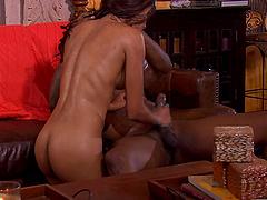 Latina pornstar Sadie Santana in high heels fucked by a black dick