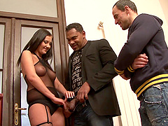 Cuckold hubby watches his wife Gabrialla Daniels ride a black man