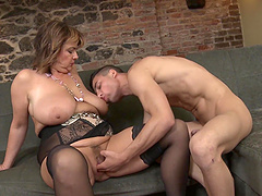 Chubby mature amateur undressed and fucked by a younger man