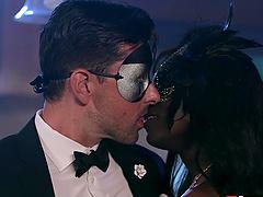 Ebony hottie Ana Foxxx fucked by a white dude in the kitchen