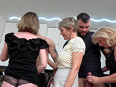 Kinky group sex in the kitchen with two dudes and three matures