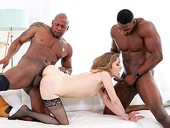Interracial MMF threesome with spit-roast for sexy Karla Kush