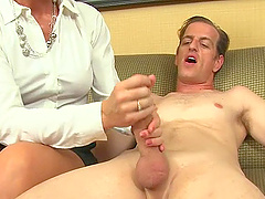 Video of naughty MILF Simone Sonay stroking and sucking his dick