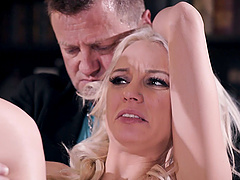 Cuckold hubby watches slutty Kenzie Taylor riding another man