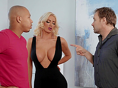 Interracial fucking at home with fake boobs blonde MILF Nicolette Shea