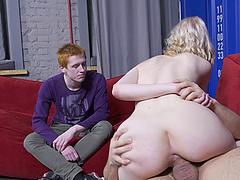 Cuckold boyfriend watches sexy Clockwork Victoria having sex