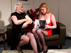 Holly Kiss and Sally Cream sit on a sofa and flash round boobs