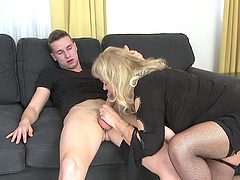 Chubby mature with saggy tits gets fucked by a younger guy