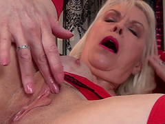 Closeup video of horny mature Margaret Holt playing with pussy