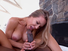 Interracial fucking ends with a facial for sexy Nicole Aniston