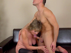 Dirty mature Monika drops her clothes to ride a younger dude