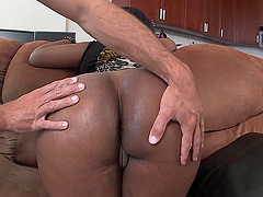 Big butt ebony Layla Monroe sucks and rides a large white dick