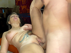 Chubby mature drops on her knees to give head and gets fucked