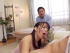 POV video of busty Mishima Natsuko giving a sloppy blowjob